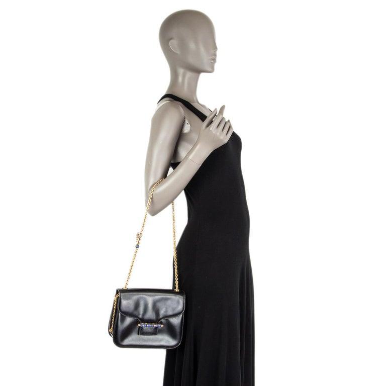 GUCCI black leather LAPIS EMBELLISHED VINTAGE Shoulder Bag 2