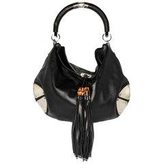 Gucci Black Leather Large Babouska Indy Top Handle Hobo Bag