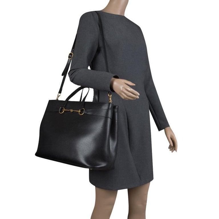 abc6245f291989 Gucci Black Leather Large Bright Bit Tote In Good Condition For Sale In  Dubai, AE