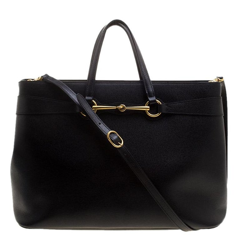 45ab46fcd815b5 Gucci Black Leather Large Bright Bit Tote For Sale at 1stdibs