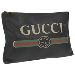 Gucci Black Leather Large Envelope Carryall Men's Women's Travel Clutch Pouch