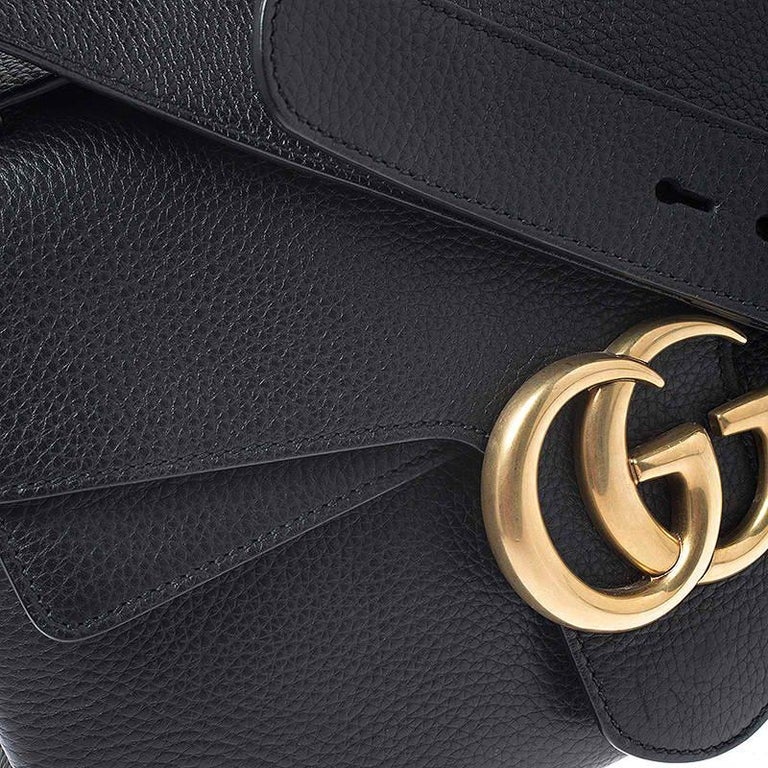 Gucci Black Leather Large GG Marmont Shoulder Bag 6