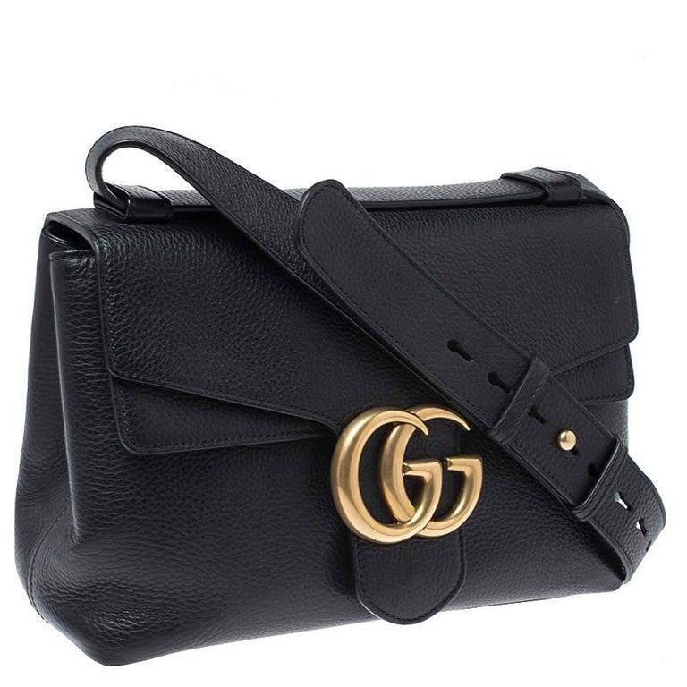 Gucci Black Leather Large GG Marmont Shoulder Bag 7