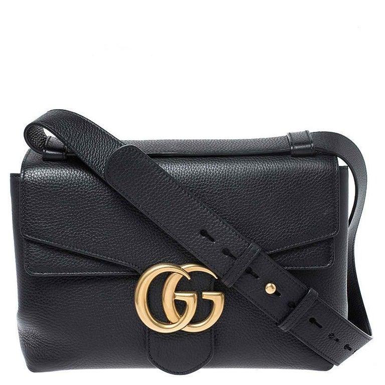 Gucci Black Leather Large GG Marmont Shoulder Bag 8