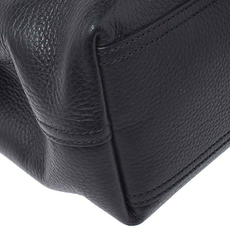 Women's Gucci Black Leather Large GG Marmont Shoulder Bag