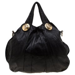 Gucci Black Leather Large Hysteria Hobo