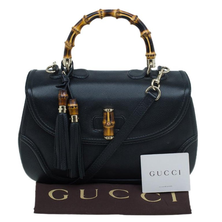 Gucci Black Leather Large New Bamboo Tassel Top Handle bag 12