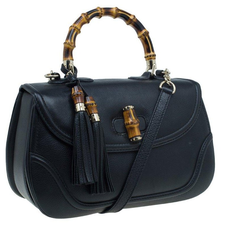 Women's Gucci Black Leather Large New Bamboo Tassel Top Handle bag