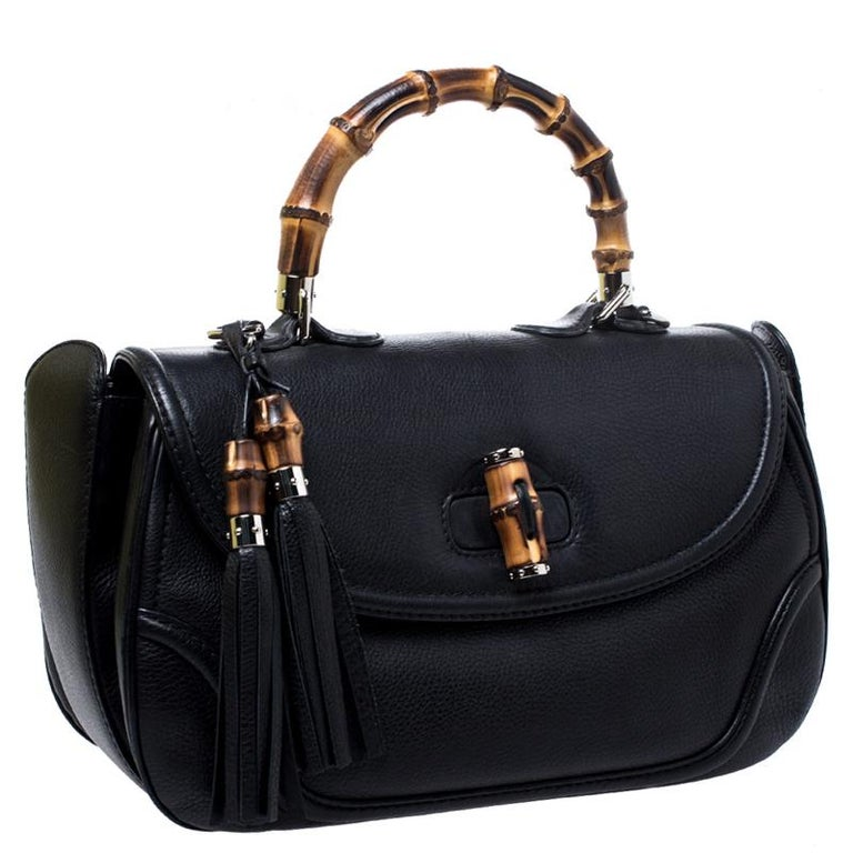 Women's Gucci Black Leather Large New Bamboo Tassel Top Handle Bag For Sale