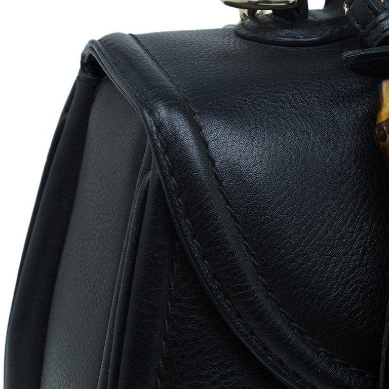 Gucci Black Leather Large New Bamboo Tassel Top Handle bag 3