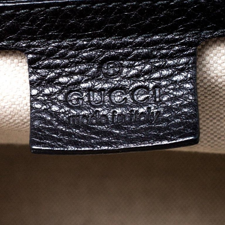 Gucci Black Leather Large New Bamboo Tassel Top Handle Bag For Sale 5