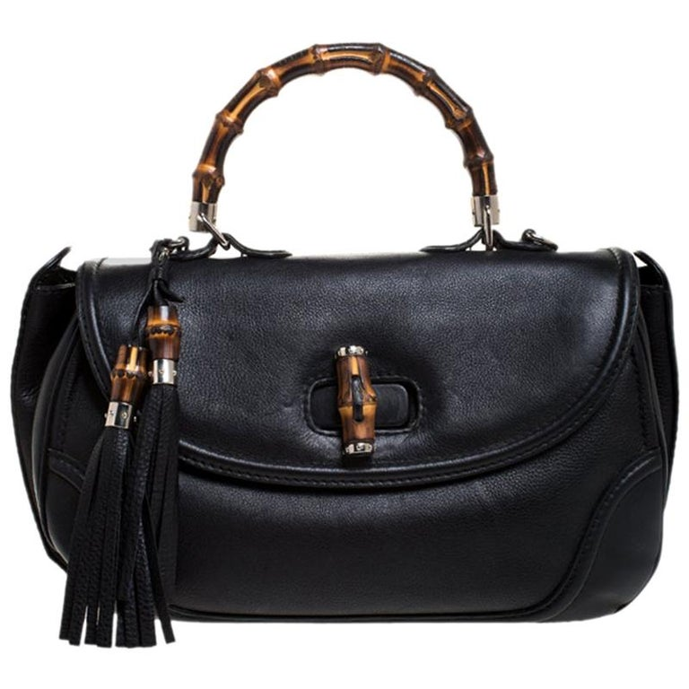 Gucci Black Leather Large New Bamboo Tassel Top Handle Bag For Sale