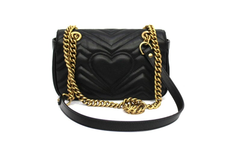Gucci Black Leather Marmont Bag  In New Condition For Sale In Torre Del Greco, IT