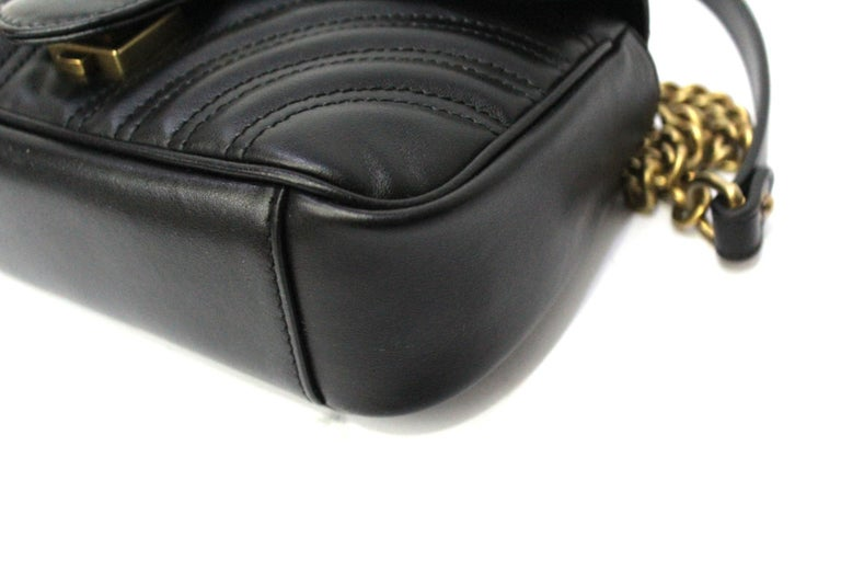 Gucci Black Leather Marmont Bag  For Sale 2