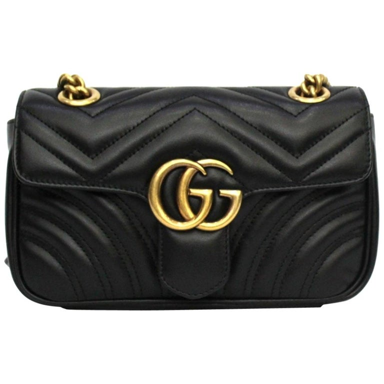 Gucci Black Leather Marmont Bag  For Sale
