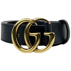 Gucci Black Leather Marmont Belt with GG Buckle Size 75/30 Never Worn