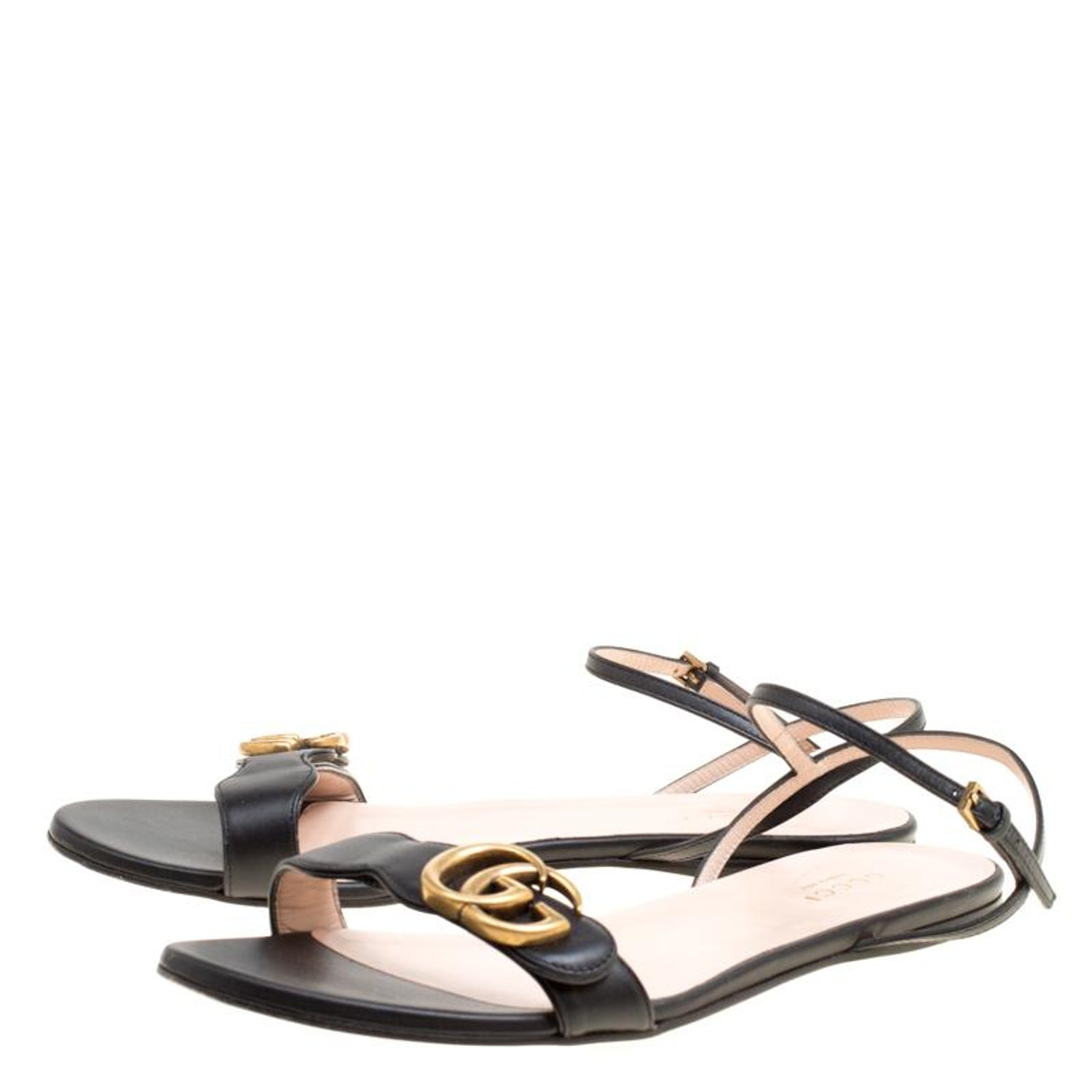 74a95a639 Gucci Black Leather Marmont Double G Flat Ankle Strap Sandals Size 38 For  Sale at 1stdibs