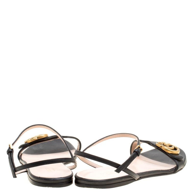 8cad435059e6 Beige Gucci Black Leather Marmont Double G Flat Ankle Strap Sandals Size 38  For Sale