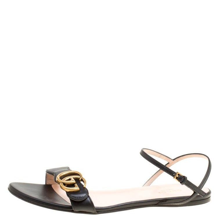 40d828ce4b19 Gucci Black Leather Marmont Double G Flat Ankle Strap Sandals Size 38 For  Sale