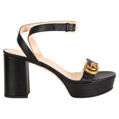 GUCCI black leather MARMONT Platform Sandals Shoes 38