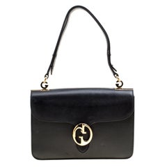 Gucci Black Leather Medium 1973 Double G Shoulder Flap Bag