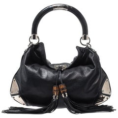 Gucci Black Leather Medium Babouska Indy Hobo