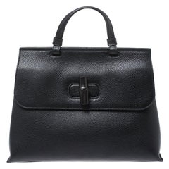 Gucci Black Leather Medium Bamboo Daily Top Handle Bag