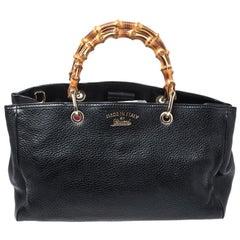 Gucci Black Leather Medium Bamboo Shopper Tote