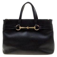 Gucci Black Leather Medium Bright Bit Top Handle Bag