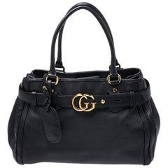 Gucci Black Leather Medium GG Running Tote
