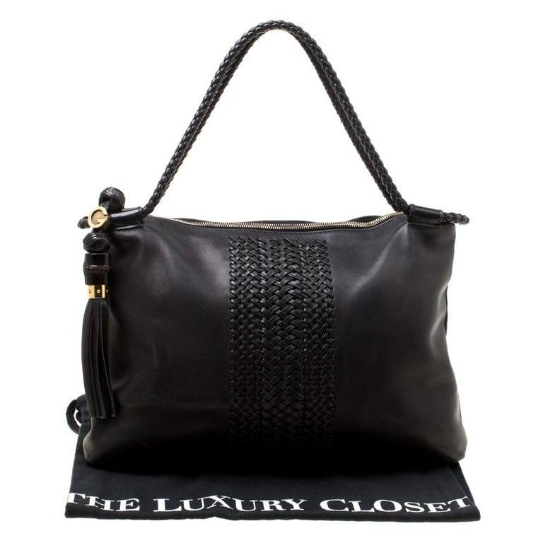 Gucci Black Leather Medium Handmade Shoulder Bag For Sale 8