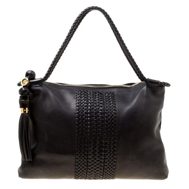 Gucci Black Leather Medium Handmade Shoulder Bag For Sale