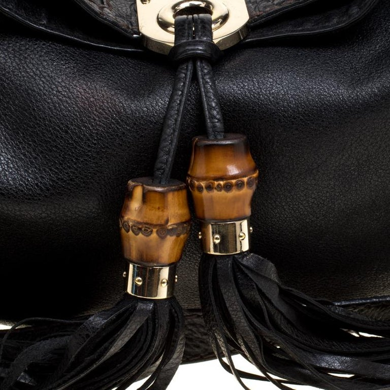 Gucci Black Leather Medium Indy Top Handle Bag For Sale 6