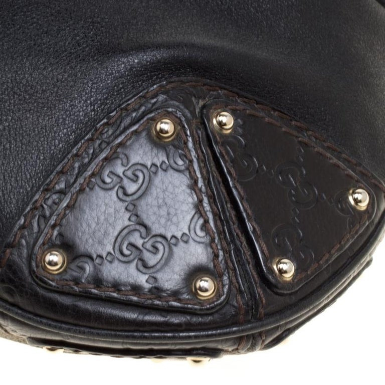 Gucci Black Leather Medium Indy Top Handle Bag For Sale 7