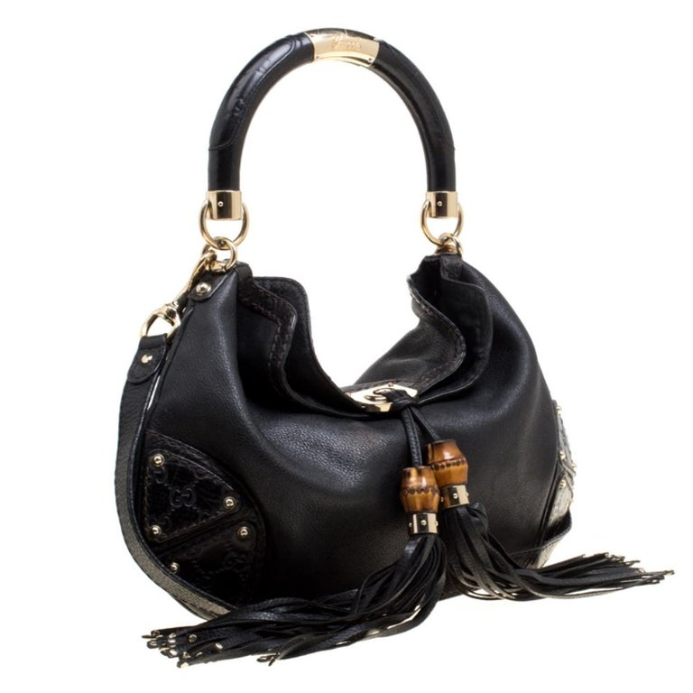 Women's Gucci Black Leather Medium Indy Top Handle Bag For Sale