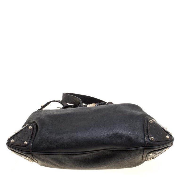 Gucci Black Leather Medium Indy Top Handle Bag For Sale 1