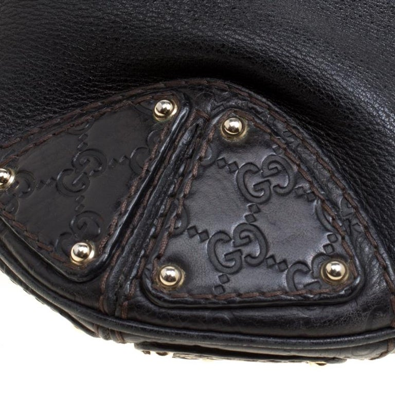 Gucci Black Leather Medium Indy Top Handle Bag For Sale 3
