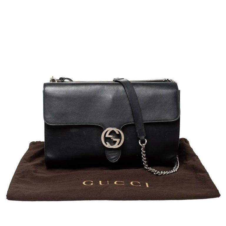 Gucci Black Leather Medium Interlocking GG Shoulder Bag For Sale 11