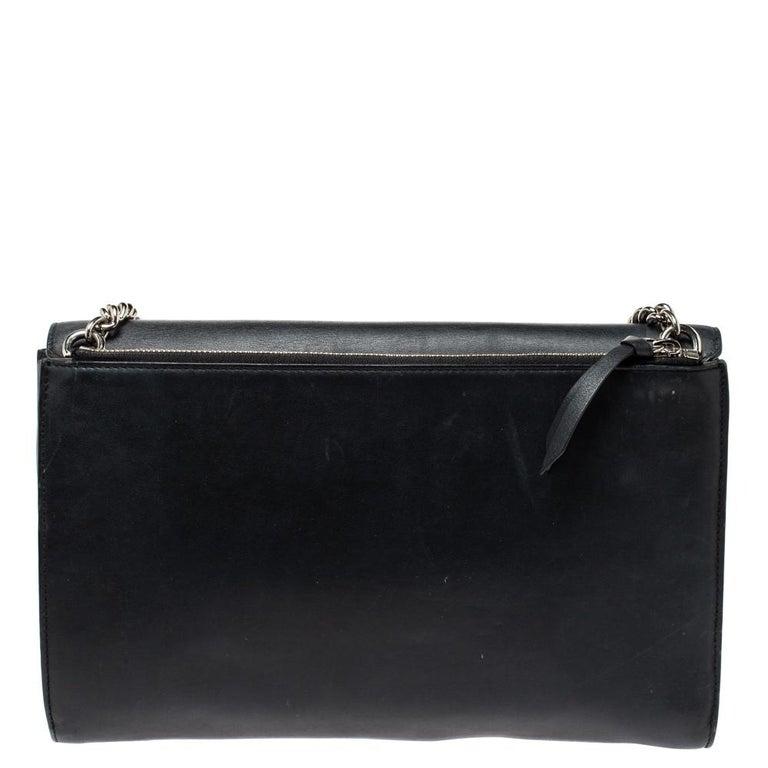 Gucci Black Leather Medium Interlocking GG Shoulder Bag For Sale 2