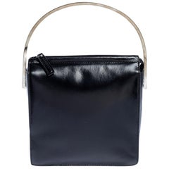 Gucci Black Leather Metal Top Handle Bag