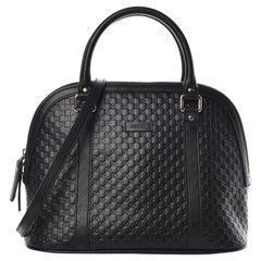 Gucci Black Leather Microguccissima Medium Dome Satchel Bag (449663)