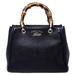 Gucci Black Leather Mini Bamboo Top Handle Bag