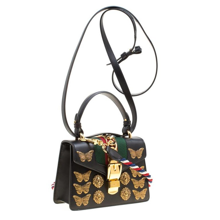 066434583145 Gucci Black Leather Mini Sylvie Animal Stud Embellished Top Handle Shoulder  Bag In Good Condition For