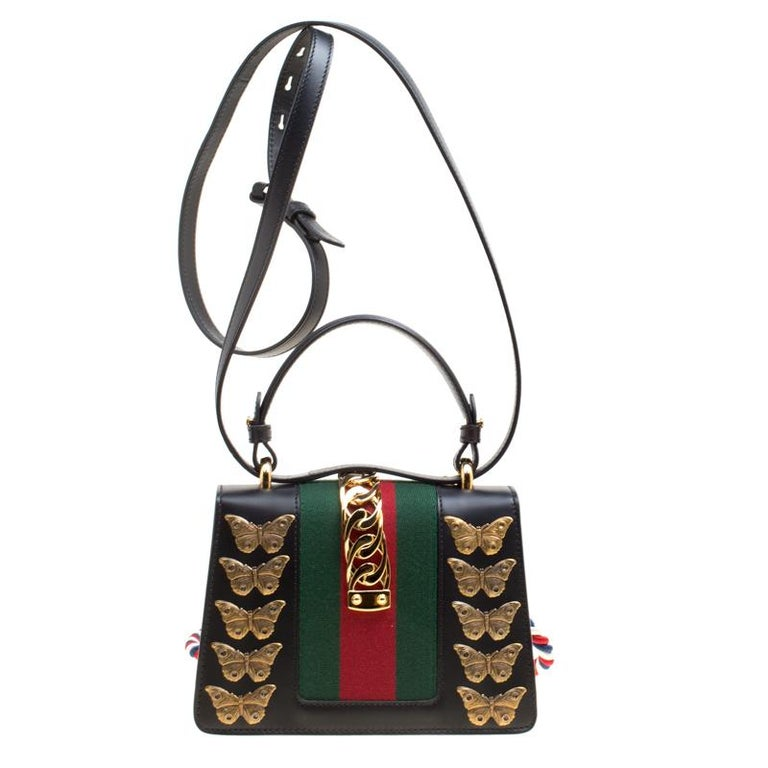 e3e6deeb2c3f Women's Gucci Black Leather Mini Sylvie Animal Stud Embellished Top Handle  Shoulder Bag For Sale