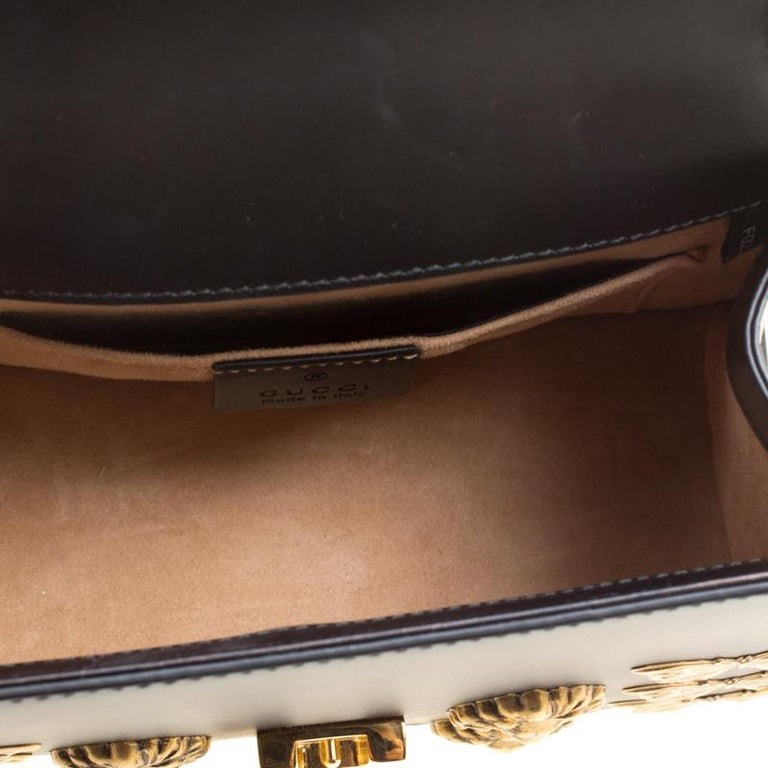 7d8a6b17764a Gucci Black Leather Mini Sylvie Animal Stud Embellished Top Handle Shoulder  Bag For Sale 3