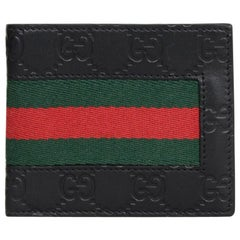 Gucci Black Leather Monogram Signature Web Bi-Fold Wallet