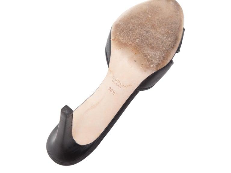 Gucci Black Leather Mule Kitten Heels For Sale 1