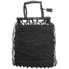 Gucci Black Leather Net Handbag