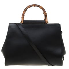 Gucci Black Leather Nymphaea Top Handle Bag