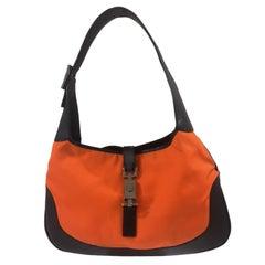 Gucci black leather orange fabric Jackie shoulder bag